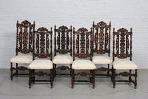 Chairs Carved France Walnut 1890