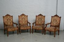 Armchairs Louis XIV France Walnut 1870