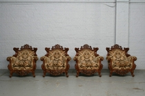 Armchairs Louis XV Italy Walnut 1940