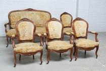 Parlor set Louis XV France Walnut 1890