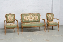 Parlor set Louis XV Belgium Walnut 1920