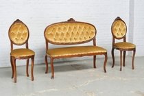 Sofa set Louis XV France Walnut 1940