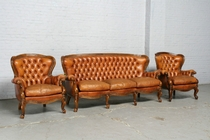 Sofa set Louis XV Italy Walnut/Leather 1950