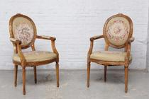 Armchairs Louis XVI Belgium Walnut 1920