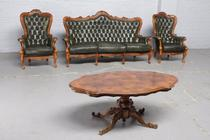Sofa set Rococo Italy Leather/walnut 1950